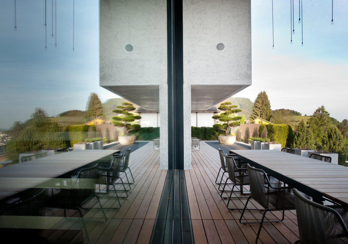 Terrace, Outdoor Dining Table, Villa Wohnen in Schindellegi, Switzerland by SimmenGroup