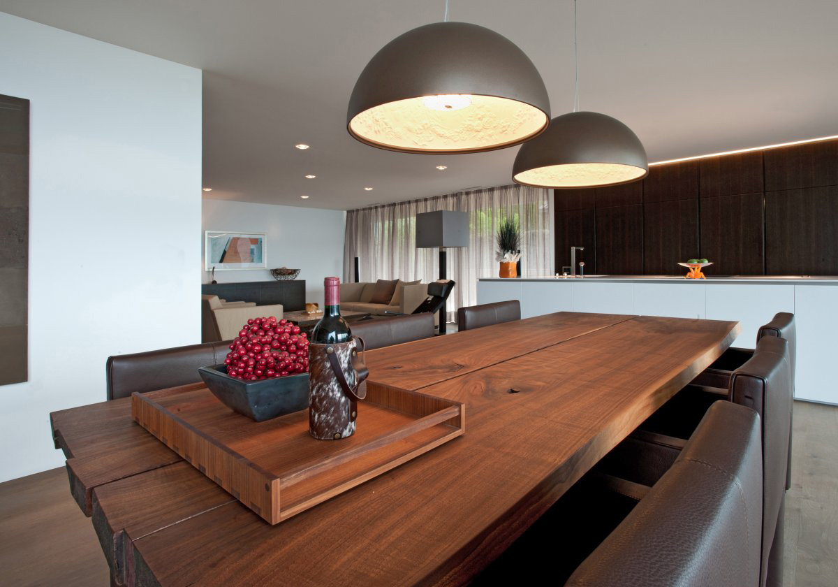 Wooden Dining Table, Leather Seats, Villa Wohnen in Schindellegi, Switzerland by SimmenGroup