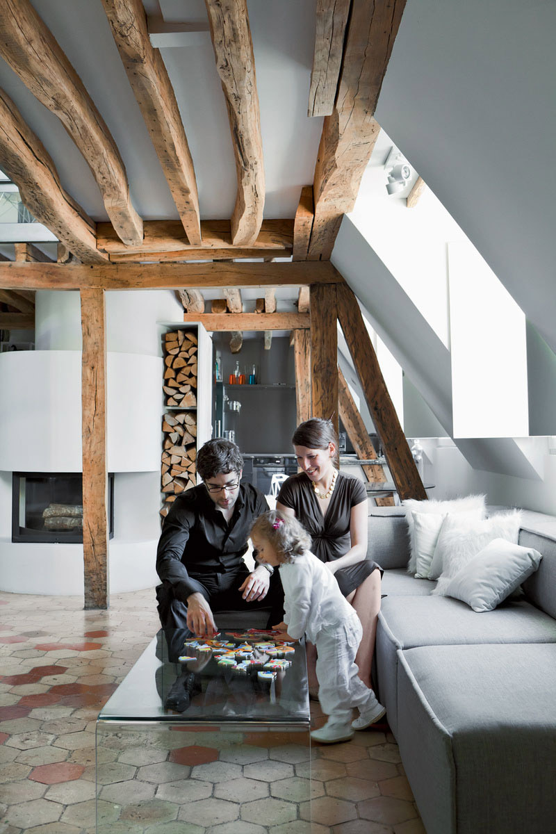 Coffee Table, Sofa, Wood Beams, Stylish Two-Floor Apartment in Paris, France