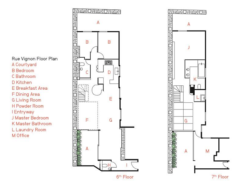 Floor Plan, Stylish Two-Floor Apartment in Paris, France