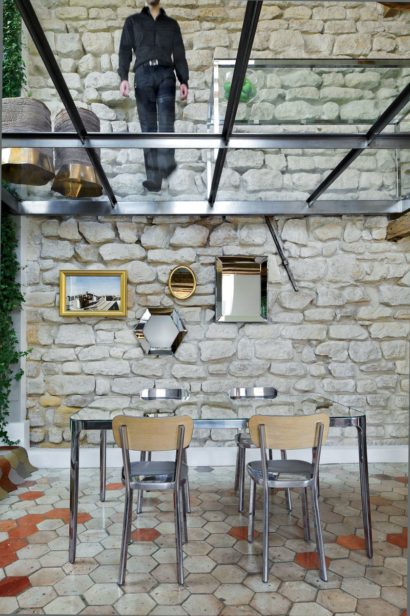 Glass Floor, Stone Wall, Dining Table, Stylish Two-Floor Apartment in Paris, France