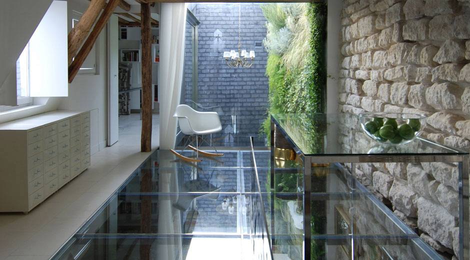 glass floor stone wall stylish two floor apartment in