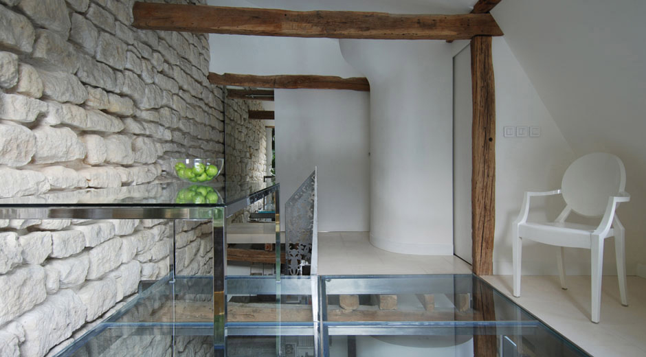 Glass Table, Floor, Stylish Two-Floor Apartment in Paris, France