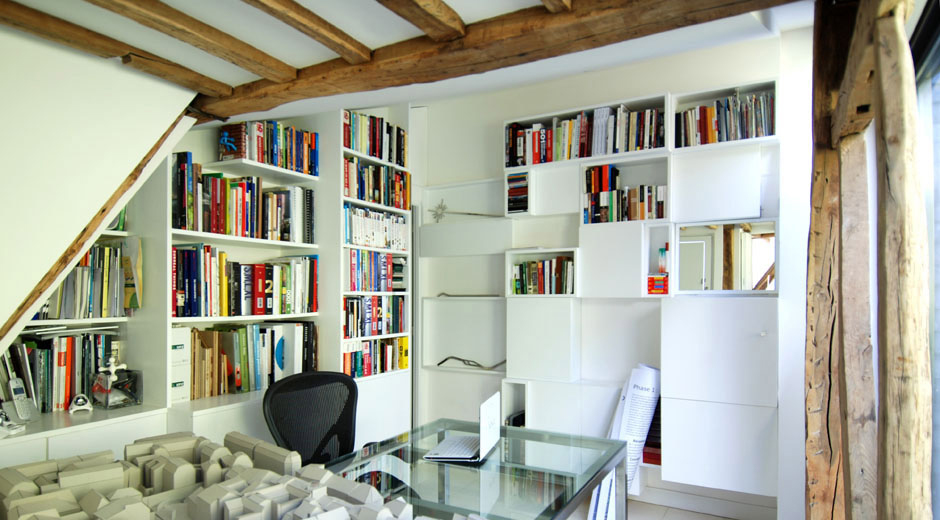 Home Office, Stylish Two-Floor Apartment in Paris, France
