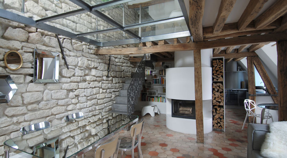 Modern Fireplace, Wood Store, Stylish Two-Floor Apartment in Paris, France
