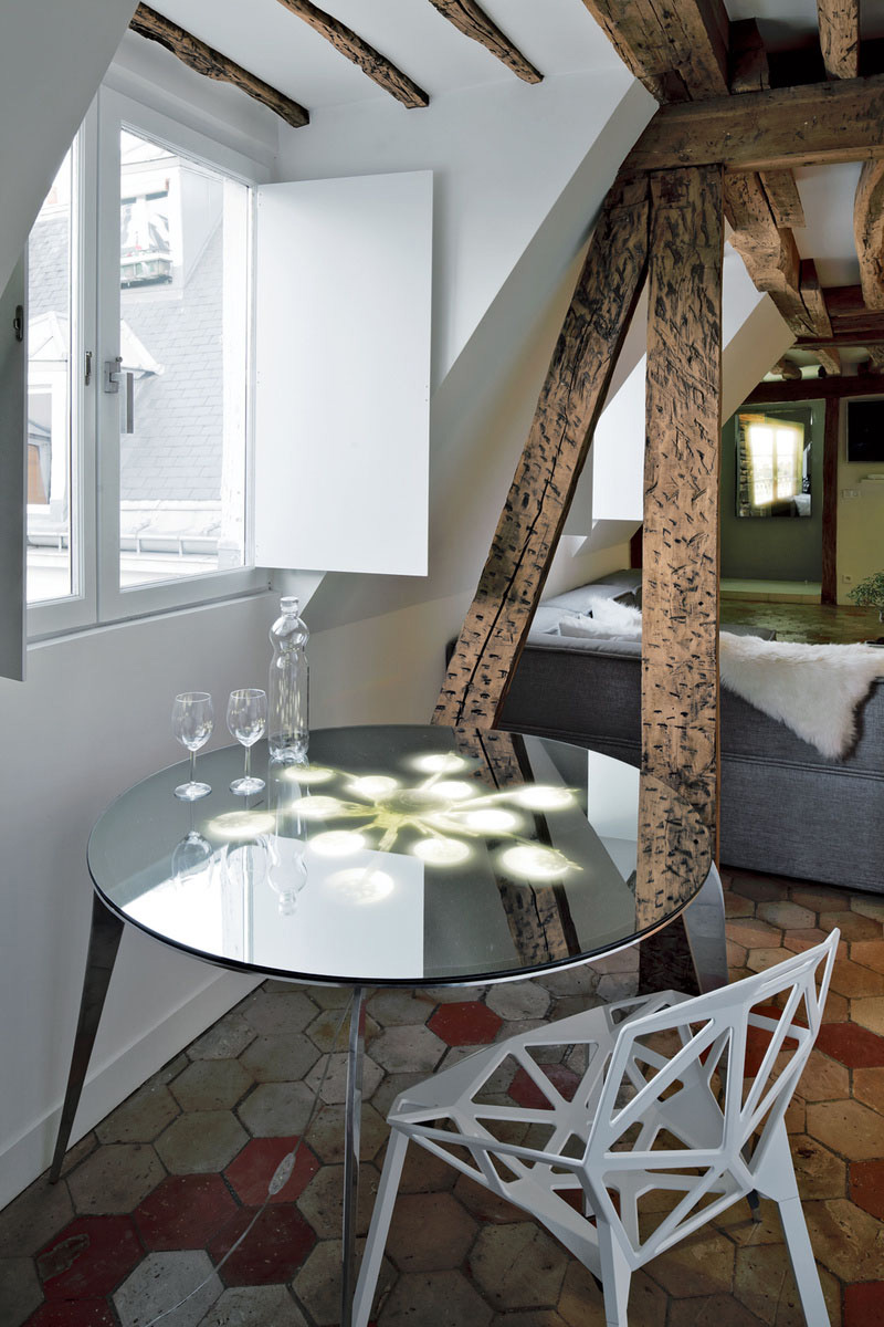 Table, Stylish Two-Floor Apartment in Paris, France