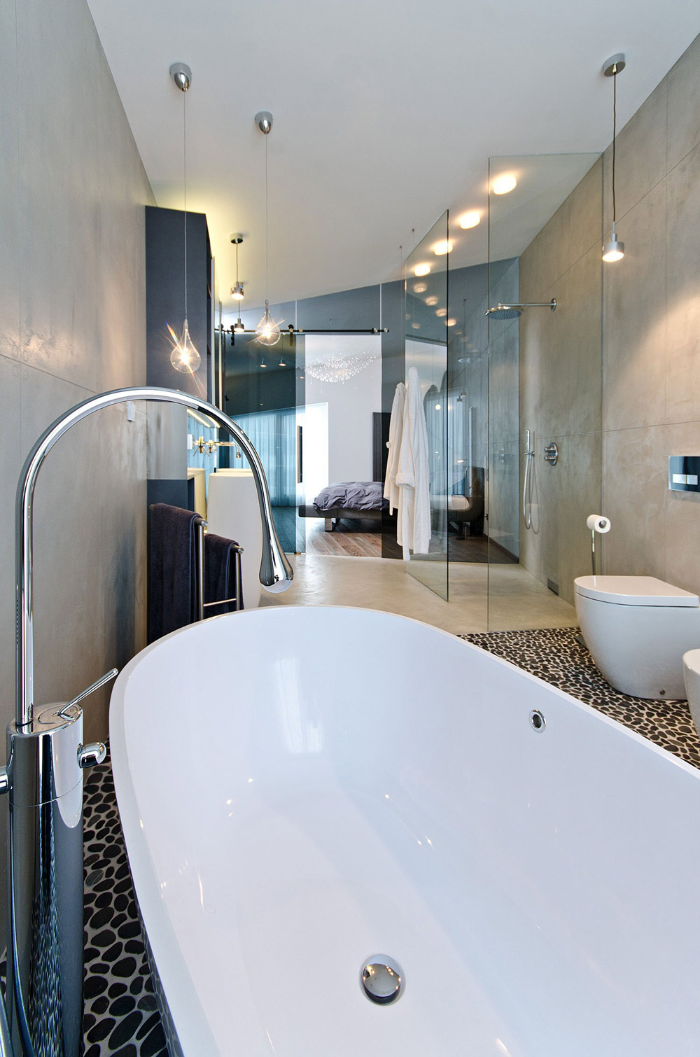Bathroom Lighting, Glass Wall, Concrete Interior Design in Osice, Czech Republic
