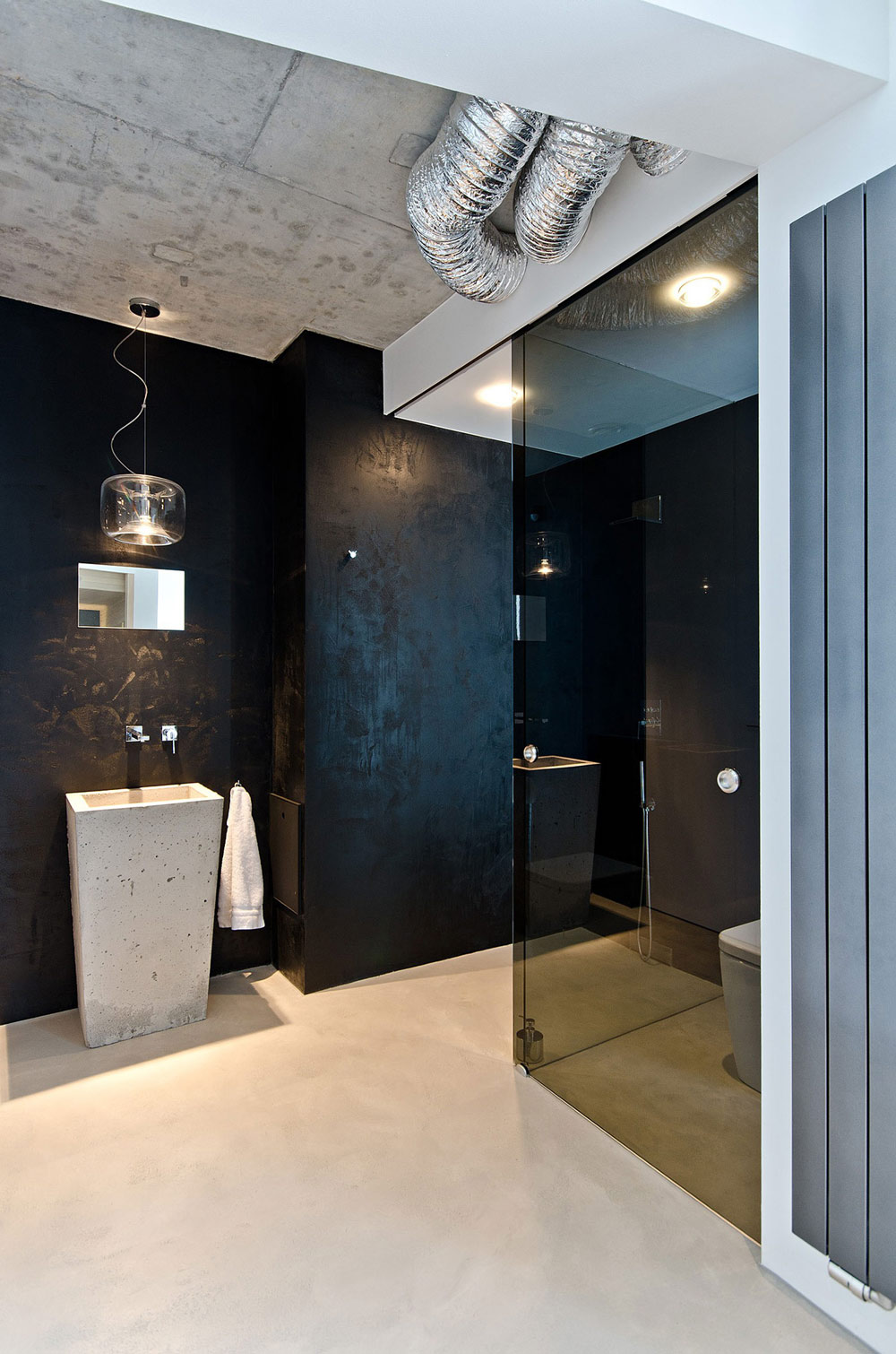 Concrete Sink, Dark Glass Cubical, Concrete Interior Design in Osice, Czech Republic