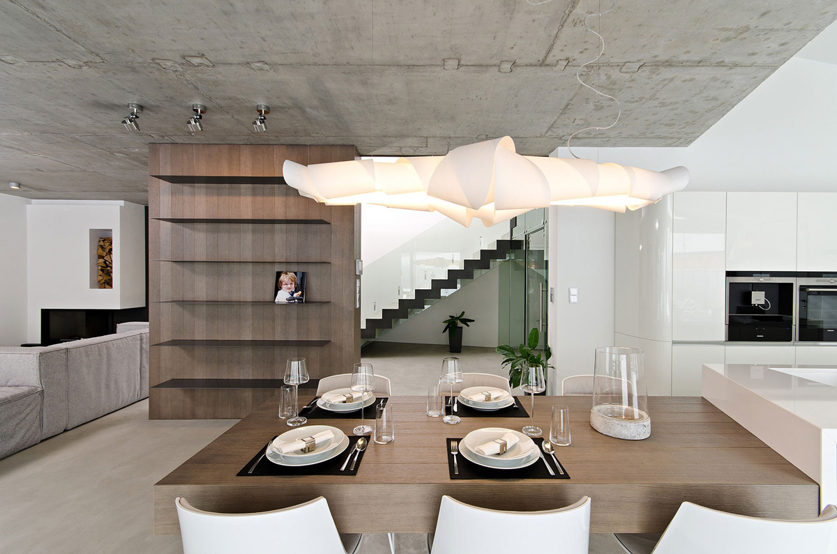 Contemporary Lighting, Dining Space, Concrete Interior Design in Osice, Czech Republic