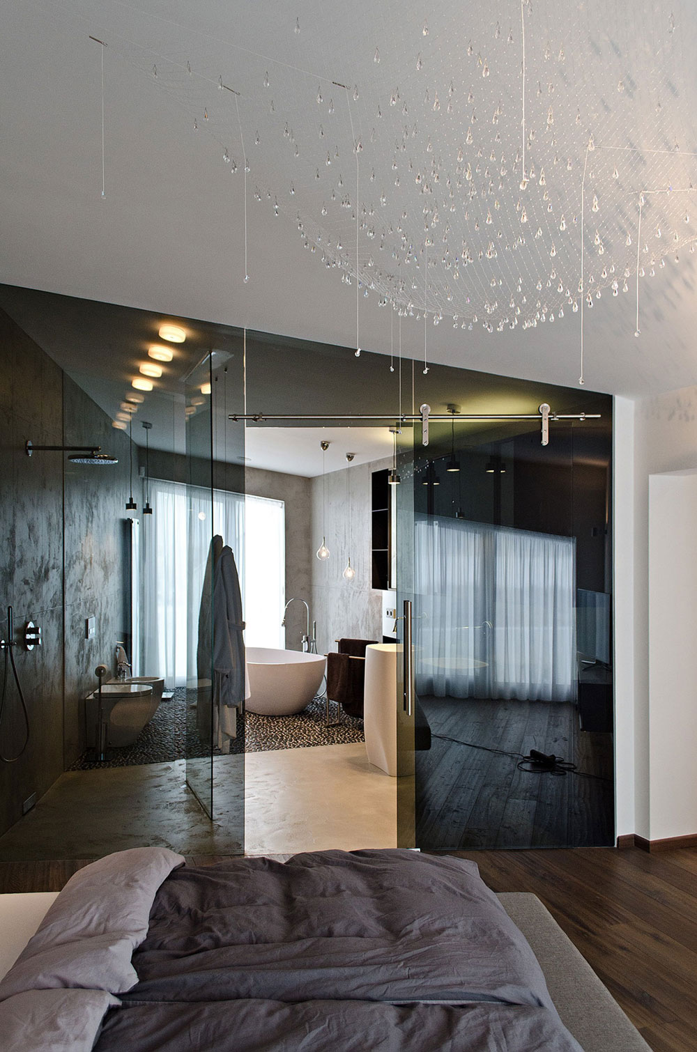dark glass wall bathroom bedroom concrete interior