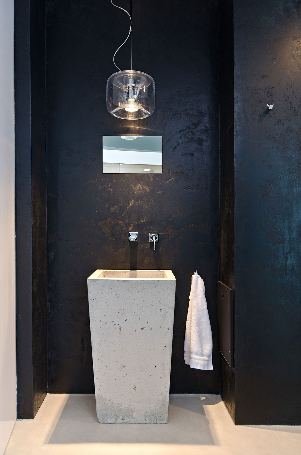 Dark Wall, Concrete Sink, Lighting, Concrete Interior Design in Osice, Czech Republic