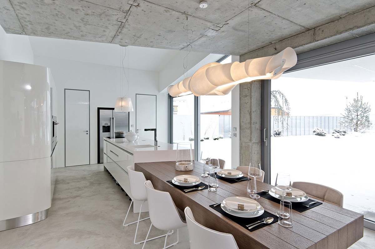 Dining Table, Lighting, Kitchen, Concrete Interior Design in Osice, Czech Republic