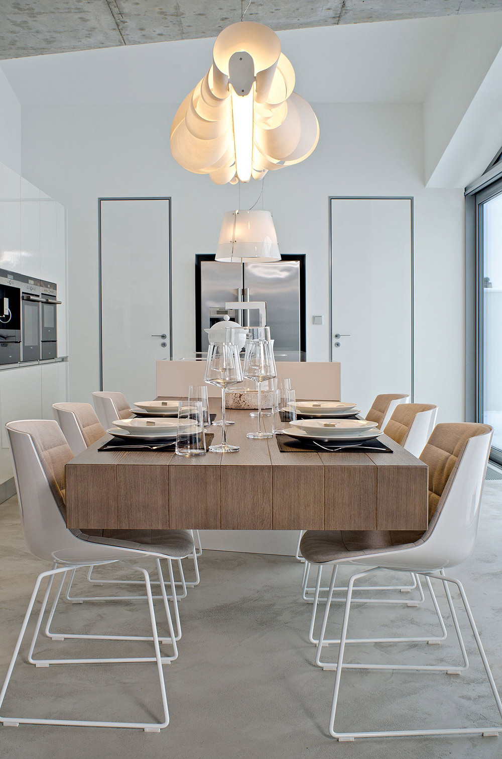 Lighting, Dining Table, Concrete Interior Design in Osice, Czech Republic