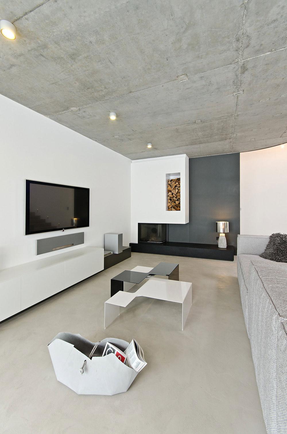 Modern Fireplace, Wood Store, Concrete Interior Design in Osice, Czech Republic