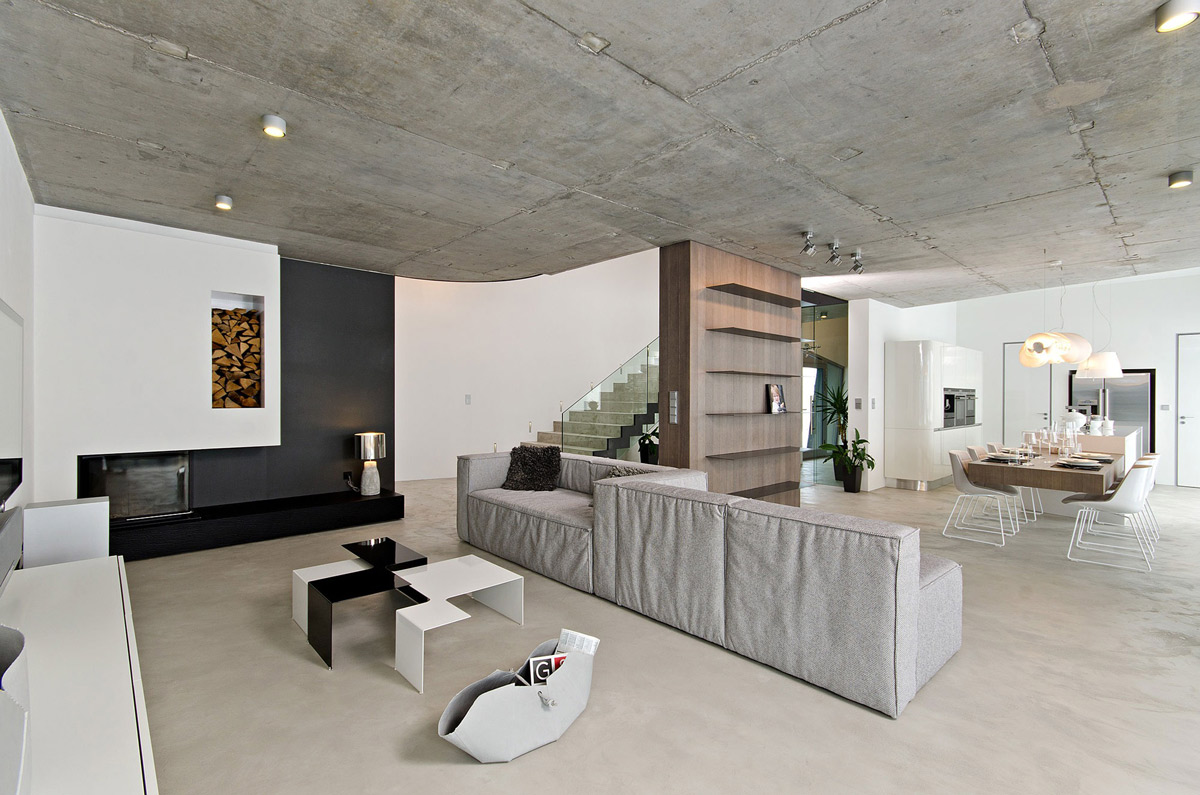 Open Plan Living Space, Concrete Interior Design in Osice, Czech Republic