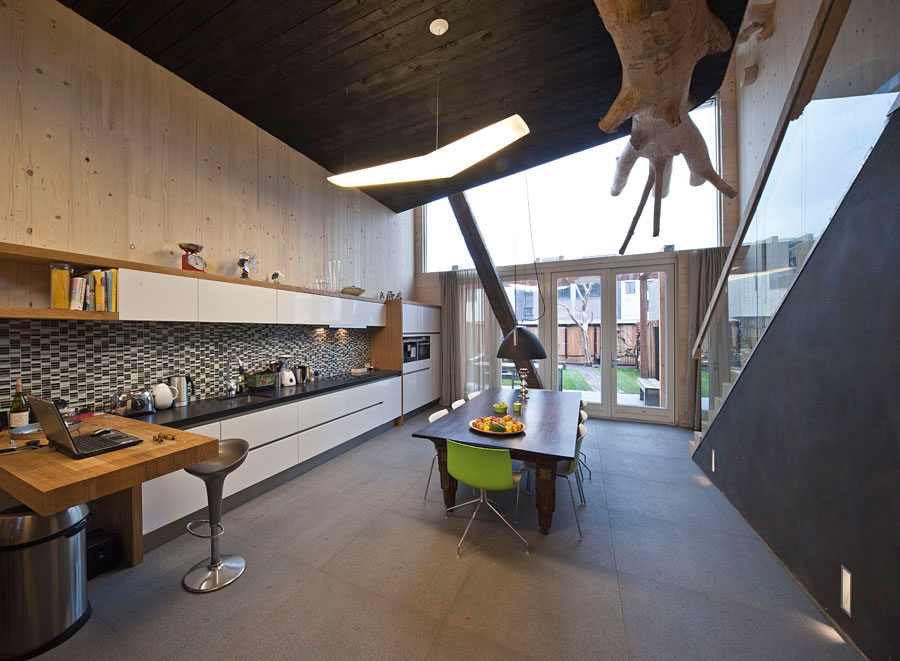 Kitchen, Dining Space, Lighting, Eco-Friendly House in Amsterdam