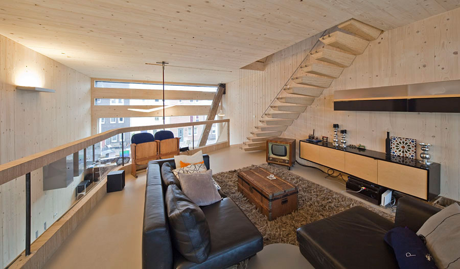 Mezzanine, Black Sofa, Chest Coffee Table, Eco-Friendly House in Amsterdam