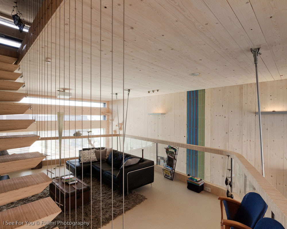 Living Space, Sofa, Rug, Mezzanine, Eco-Friendly House in Amsterdam