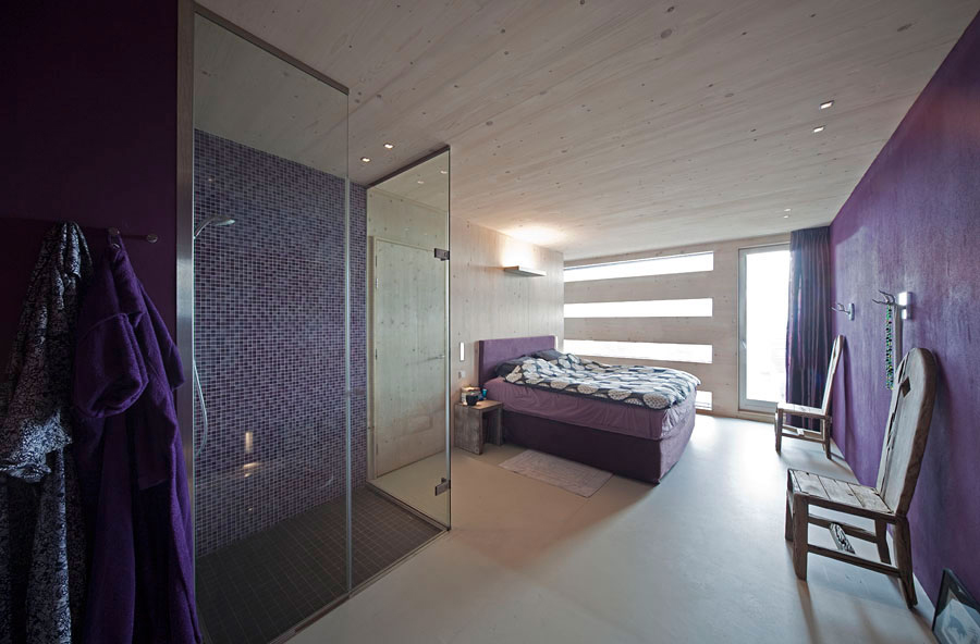 Purple Bedroom, Shower, Eco-Friendly House in Amsterdam