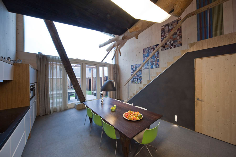 Wooden Dining Table, Stairs, Eco-Friendly House in Amsterdam