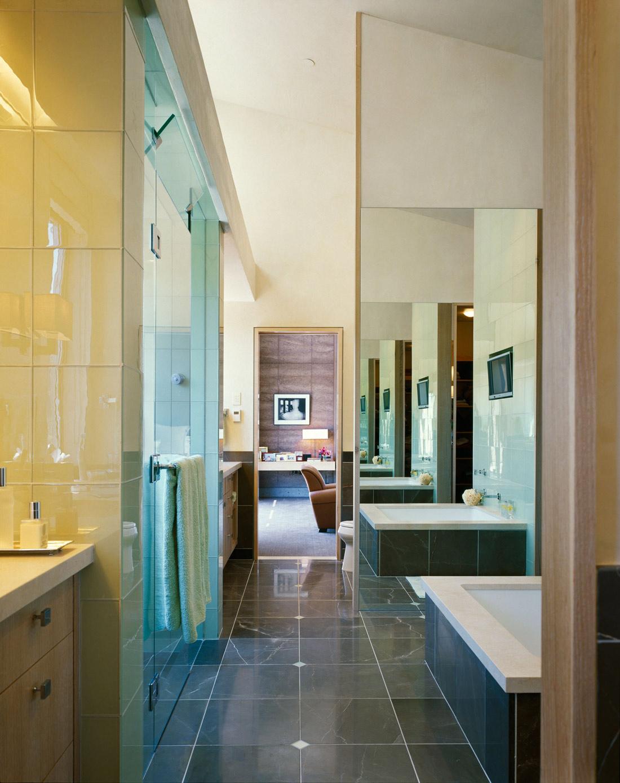 Grey Marble Tiles, Bathroom, Imposing Contemporary Home in Aspen, Colorado