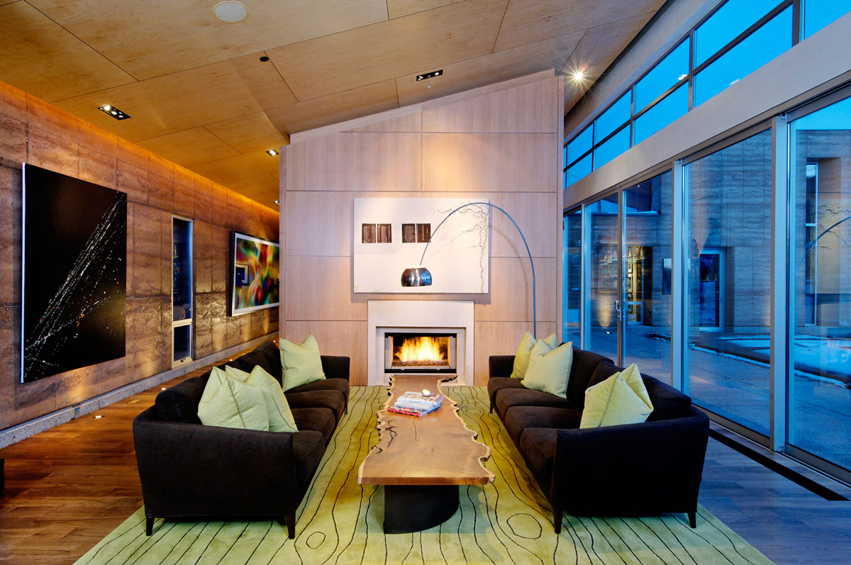 Dark Sofas, Art, Fireplace, Imposing Contemporary Home in Aspen, Colorado
