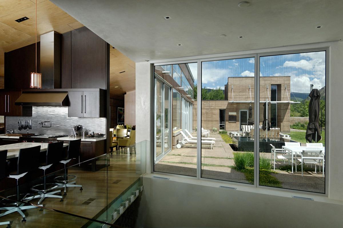 Kitchen, Glass Balustrading, Imposing Contemporary Home in Aspen, Colorado