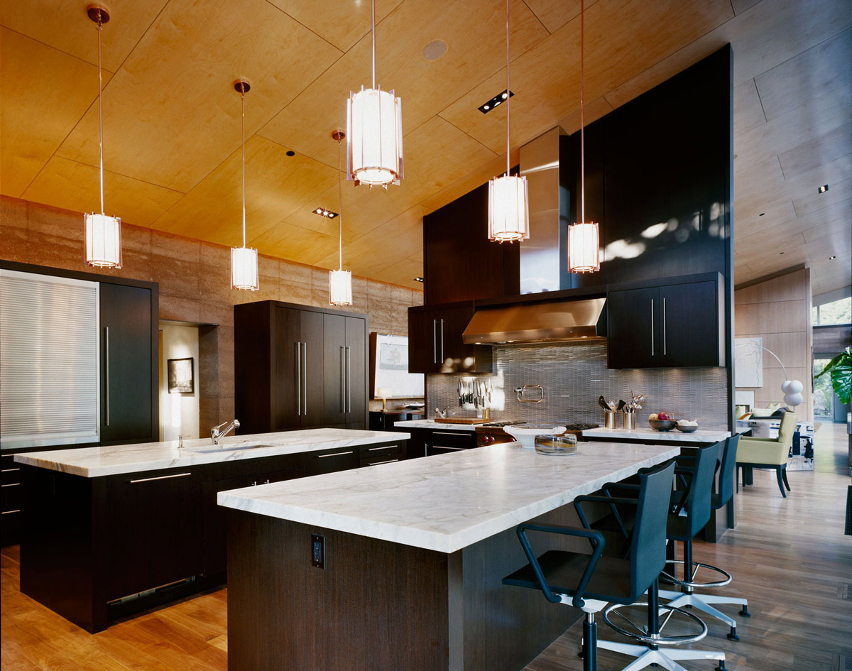 Kitchen Island, Breakfast Bar, Lighting, Imposing Contemporary Home in Aspen, Colorado