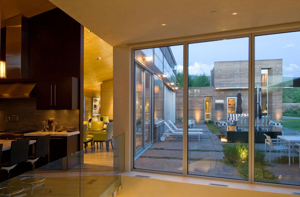 Terrace, Window, Lighting, Imposing Contemporary Home in Aspen, Colorado