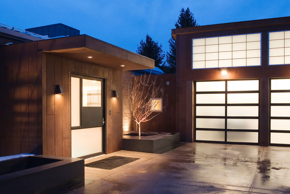 Modern Front Door, Gardens, Imposing Contemporary Home in Aspen, Colorado