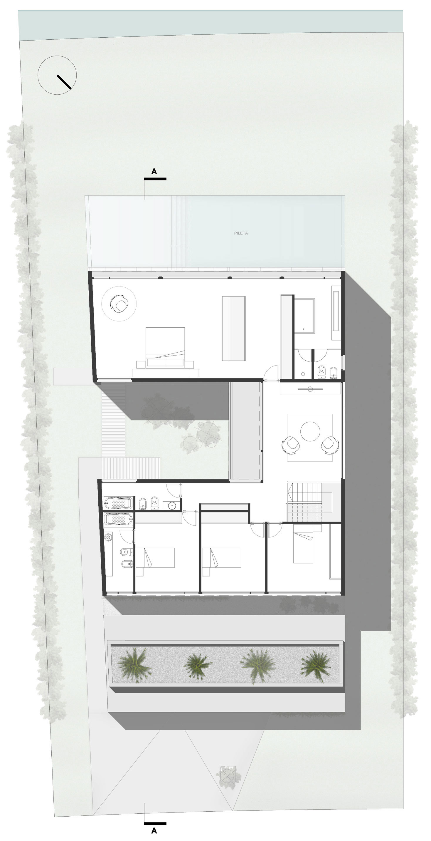 First Floor Plan, Modern House in Buenos Aires, Argentina
