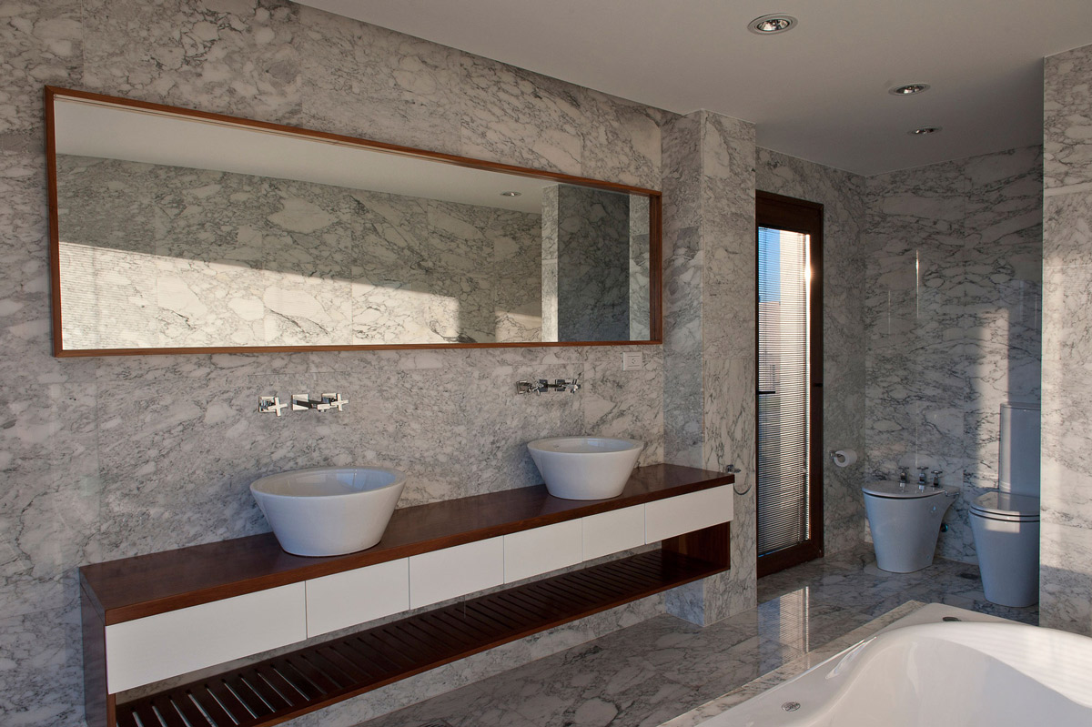 Grey Marble Bathroom, Modern House in Buenos Aires, Argentina