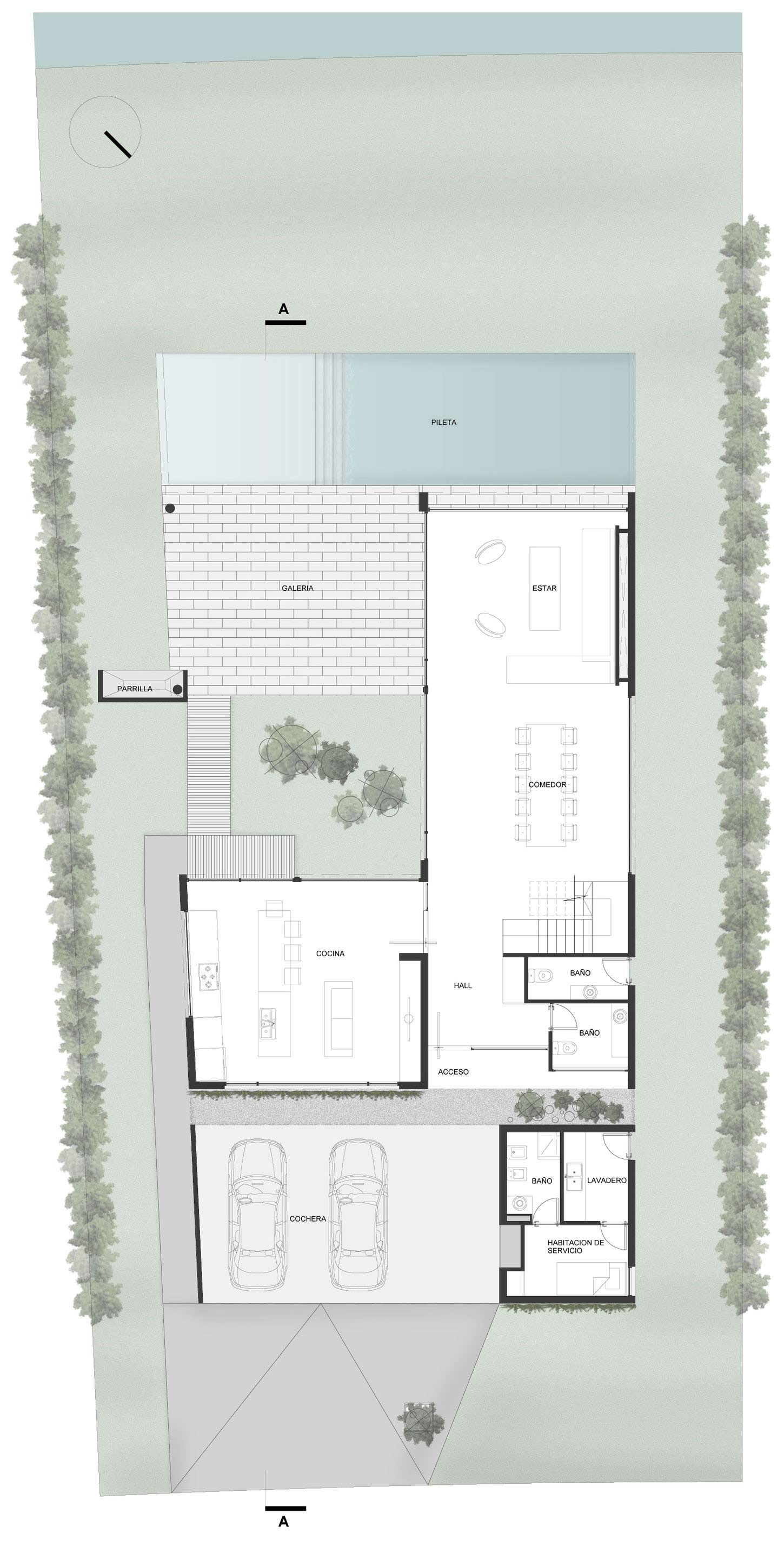 Ground Floor Plan, Modern House in Buenos Aires, Argentina