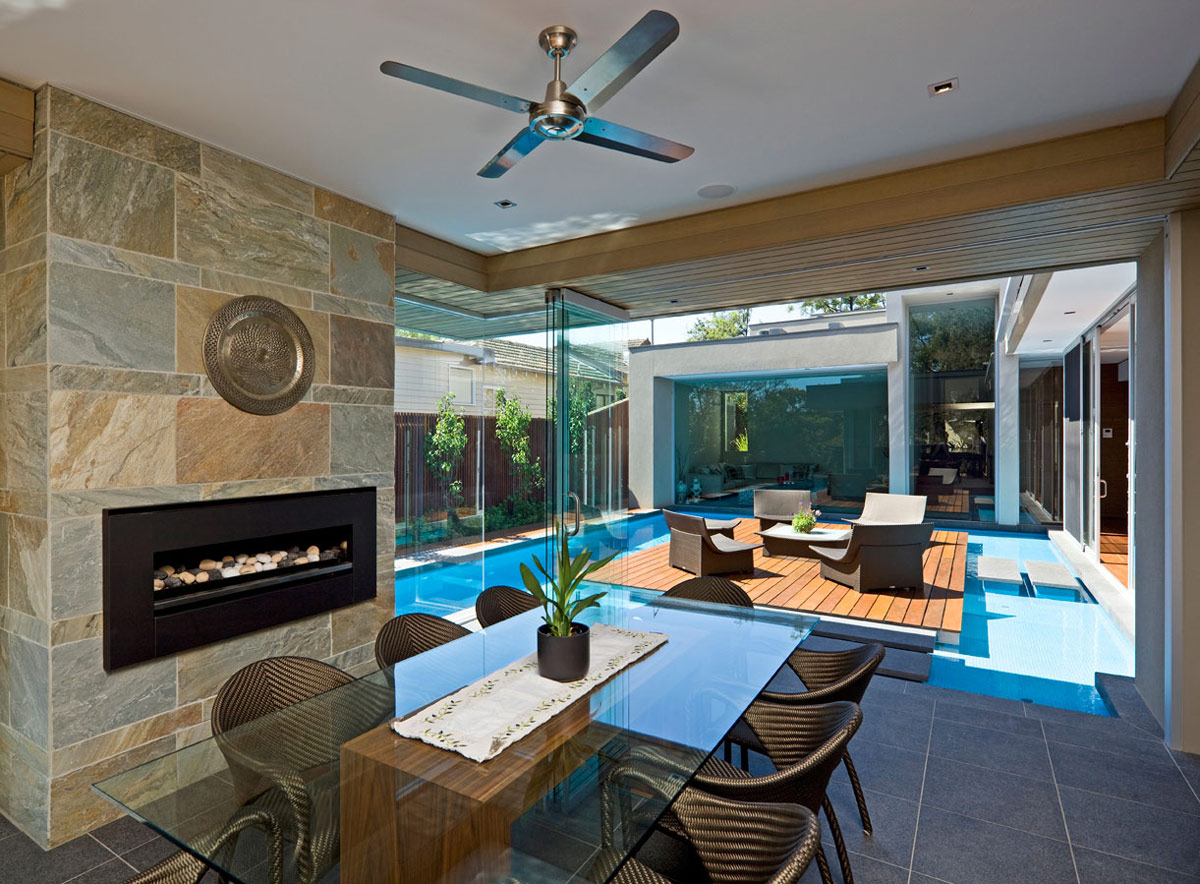 Dining Room, Contemporary Fireplace, Home in Canterbury, Australia
