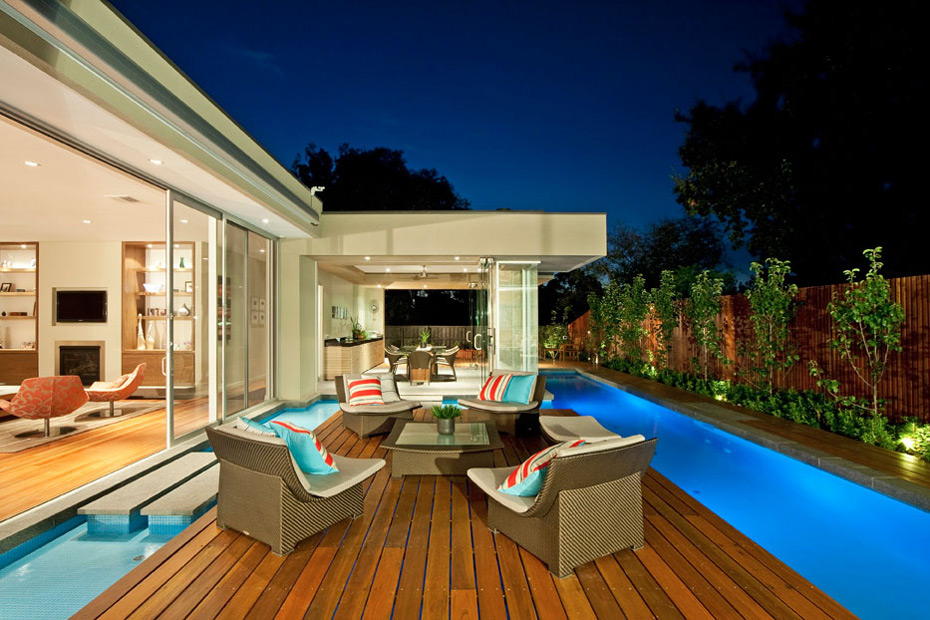 Dusk, Pool Lighting, Island, Deck, Home in Canterbury, Australia