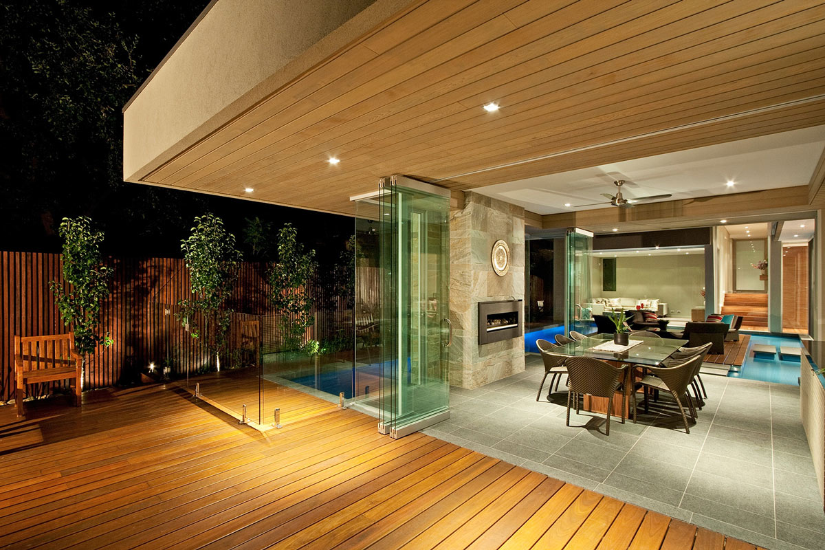 Glass Balustrading, Patio Doors, Dining Space, Home in Canterbury, Australia