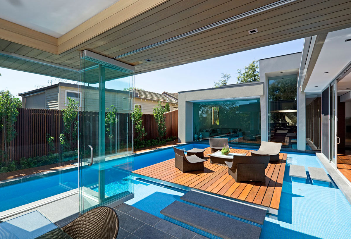 Glass Walls, Island in Pool, Home in Canterbury, Australia