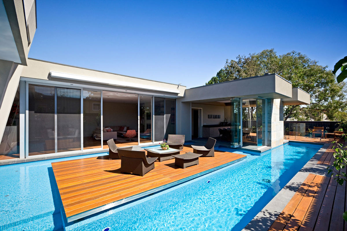Striking home in canterbury australia by canny - Simple houses design with swimming pool ...