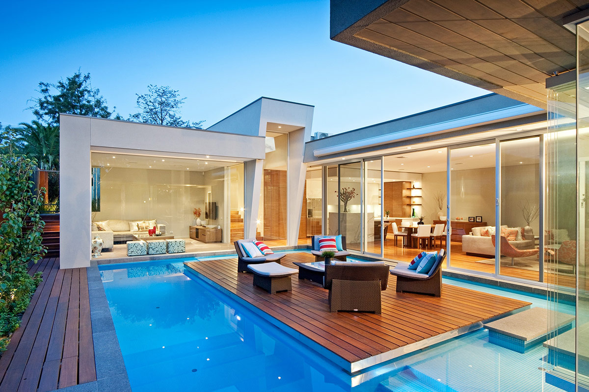 Large Glass Wall, Pool Island, Home in Canterbury, Australia