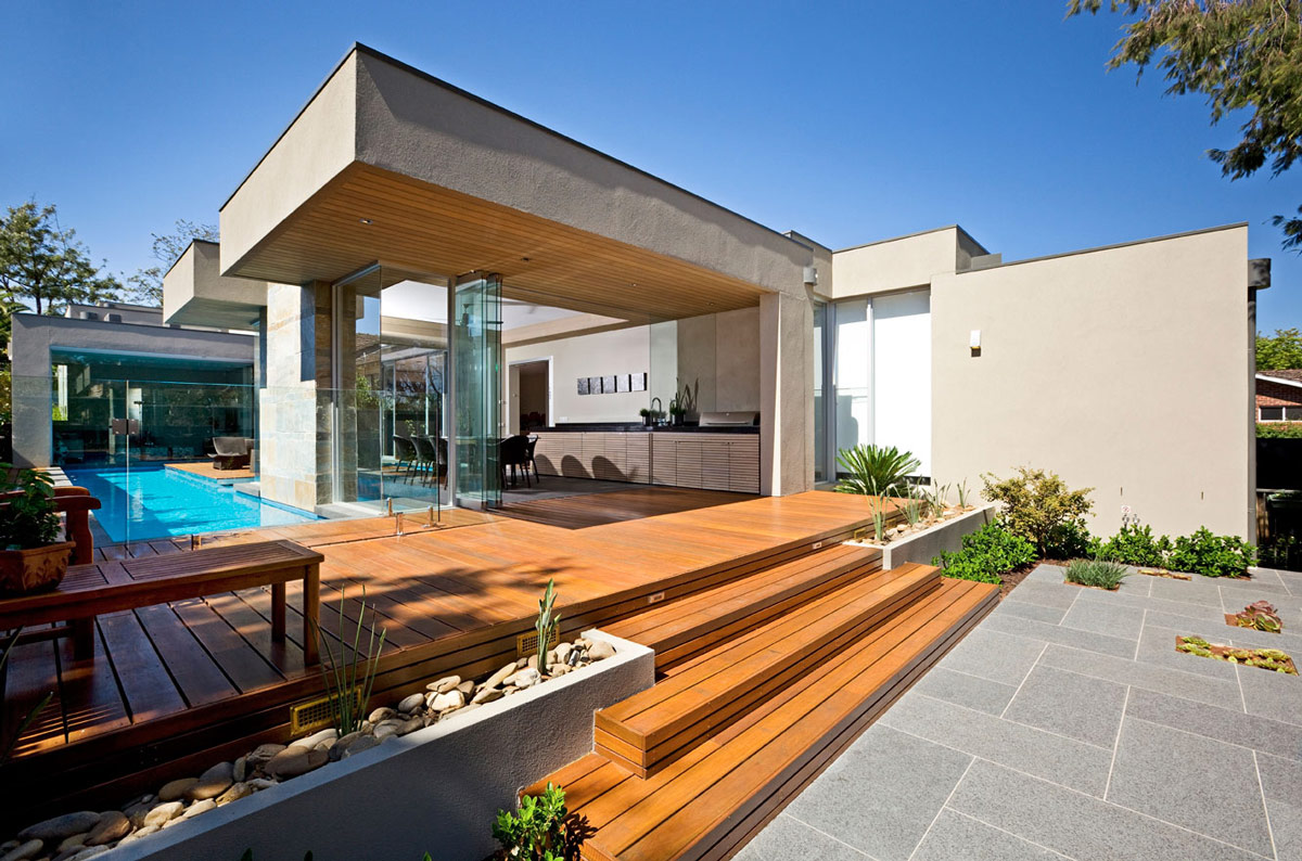 Wooden Terrace, Glass Walls, Home in Canterbury, Australia