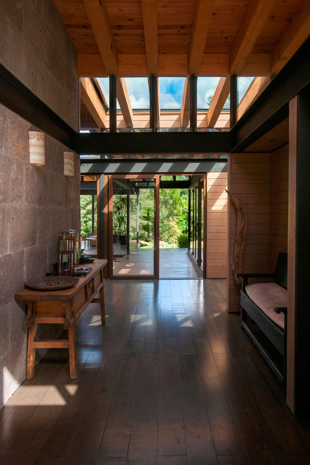 Glass Front Door, Hall, Stunning Home in Valle de Bravo, Mexico