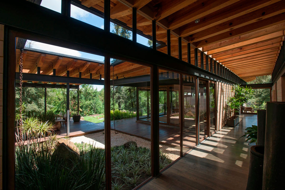 Hallway, Patio Doors, Stunning Home in Valle de Bravo, Mexico