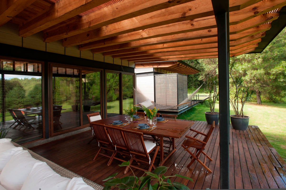 Outside Wooden Dining Table, Stunning Home in Valle de Bravo, Mexico