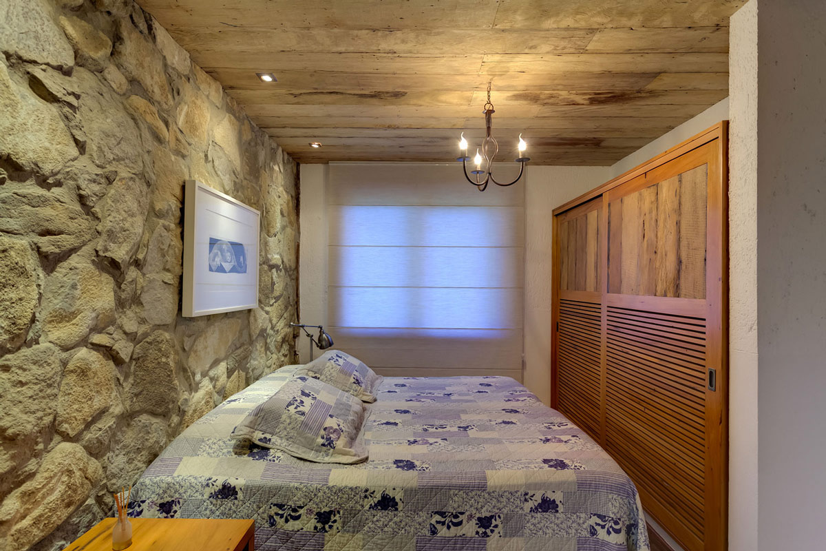 Bedroom, Stone Wall, Lighting, Charming Rustic House in Amarante, Portugal