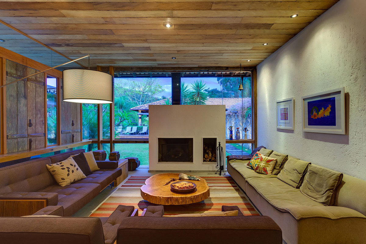 Lighting, Modern Fireplace, Sofas, Charming Rustic House in Amarante, Portugal