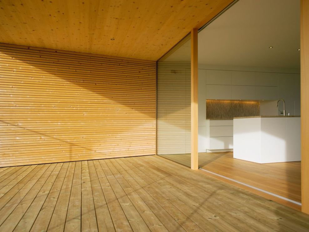 Balcony wood flooring walls ceiling modern countryside for Tiles for balcony walls