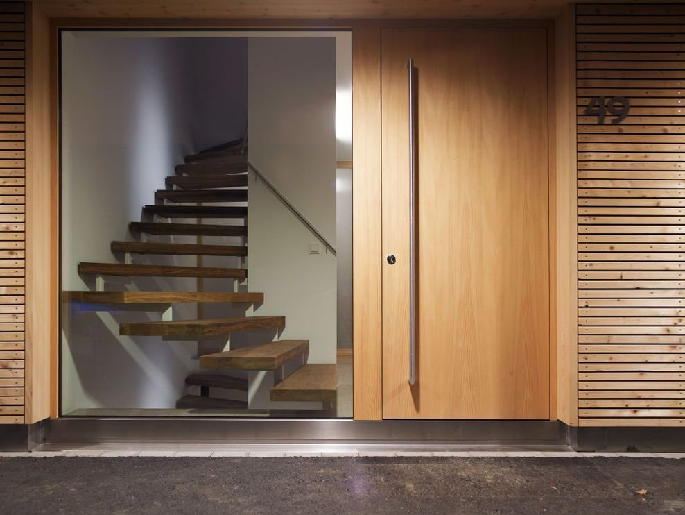 Entrance, Glass Walls, Stairs, Modern Countryside House on Lake Constance, Austria