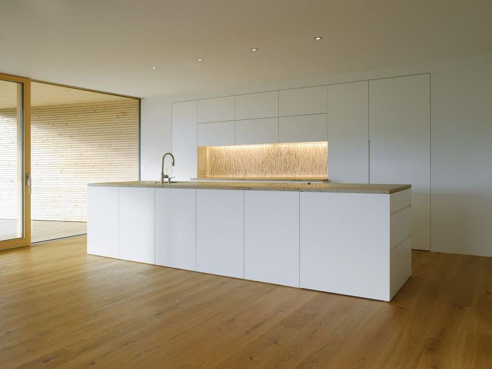 White Kitchen, Island, Modern Countryside House on Lake Constance, Austria