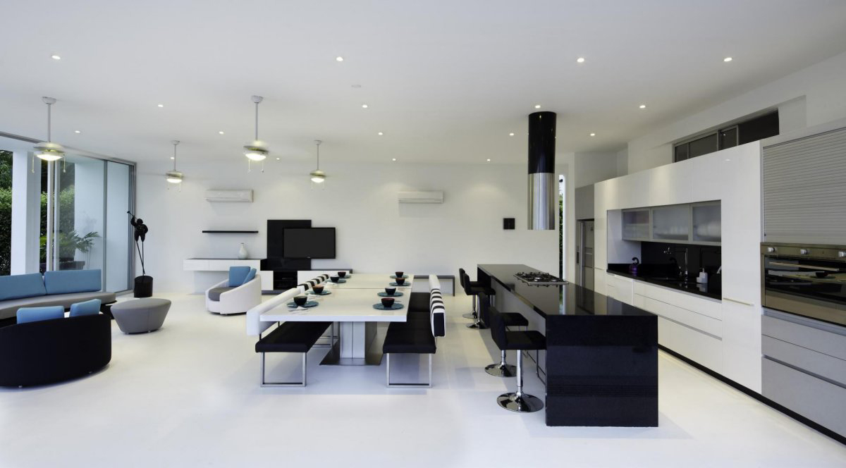 Black amp; White Kitchen, Dining Table, Living Space, Modern House in