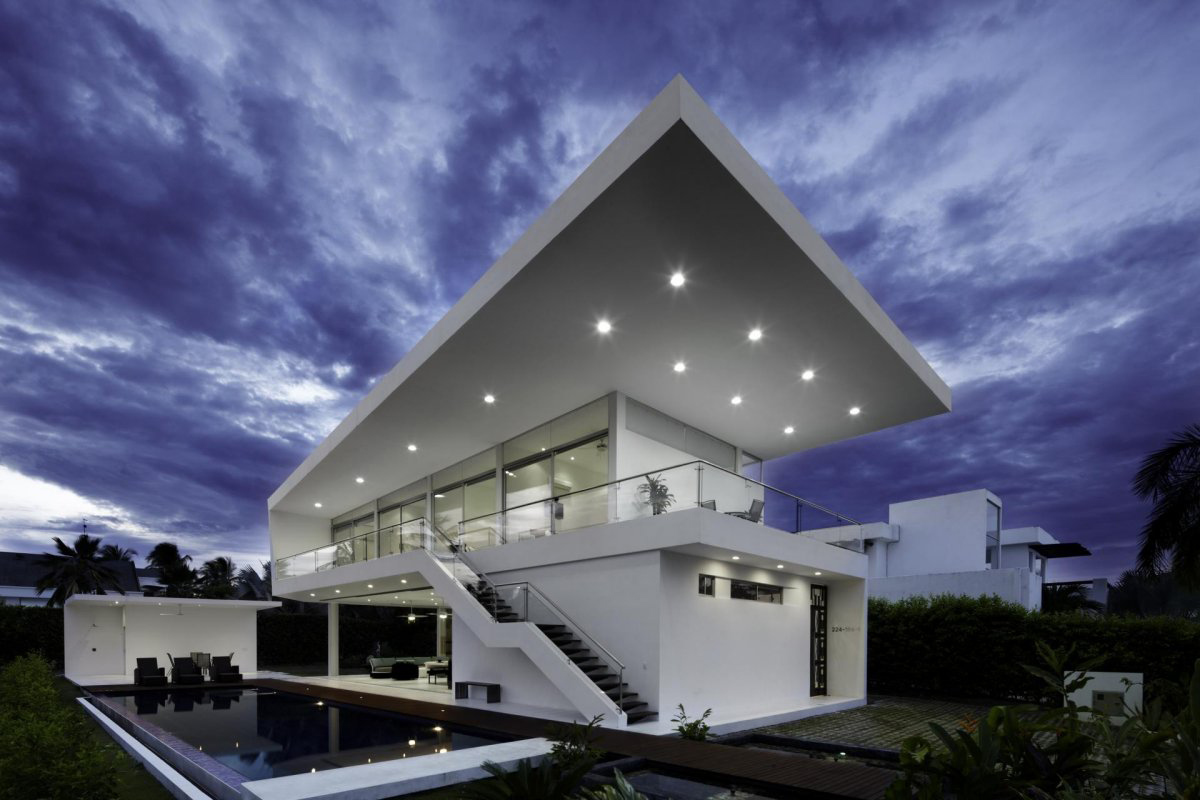 Pool, Terrace, Lighting, Modern House in Girardot, Colombia
